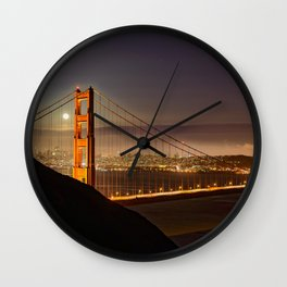 GOLDEN GATE BRIDGE & MOON PHOTO - SAN FRANCISCO NIGHT IMAGE - CALIFORNIA PICTURE - CITY PHOTOGRAPHY Wall Clock