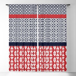 Japanese Style Ethnic Quilt Blue and Red Blackout Curtain