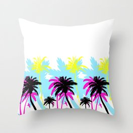 CMYK Palm Trees Throw Pillow