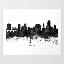 Tulsa Black White Named Skyline Art Print
