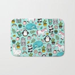 Narwhal and Friends, Emoji Tween Print, Pre-teen Girls, Unicorns, Panda, Llamas and Doughnuts Bath Mat