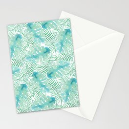 Modern tropical pastel green watercolor leaves floral Stationery Cards