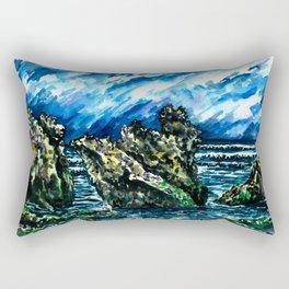 Bali Bingin beach watercolor painting landscape picture Rectangular Pillow