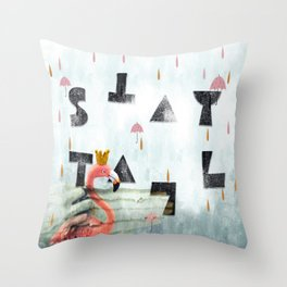 stay tall-flamingo story Throw Pillow