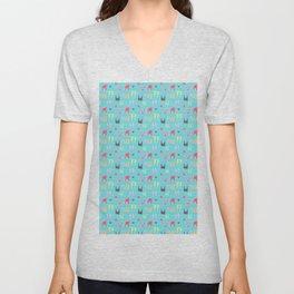 Colorful bunnies on blue background Unisex V-Neck