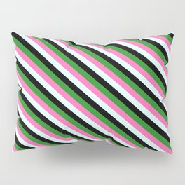 Forest Green, Hot Pink, Light Cyan & Black Colored Lined Pattern Pillow Sham