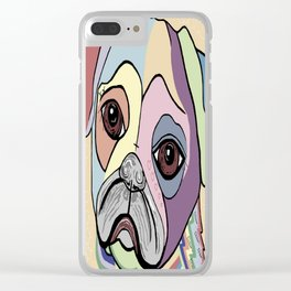PUG in DENIM Tones Clear iPhone Case