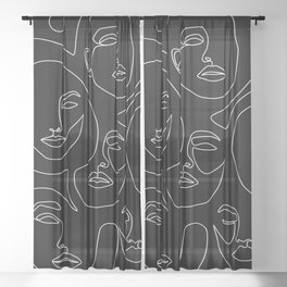 Faces in Dark Sheer Curtain