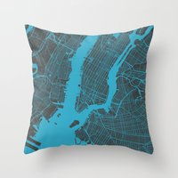 new york map Throw Pillows featuring new york map by Map Map Maps