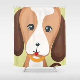 Cute Beagle - Dog Lovers Kids Poster Shower Curtain