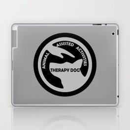 Animal Assisted Activities  - THERAPY DOG logo black white Laptop & iPad Skin