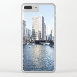 Magic Hour Downtown, Chicago River Clear iPhone Case