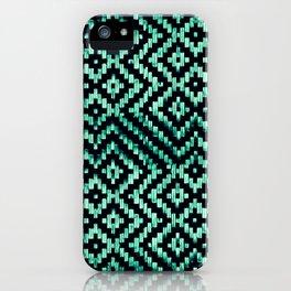 Weave Pattern Bali Black Turquoise iPhone Case