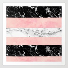 Modern color block stripes marble pink watercolor pattern Art Print