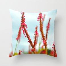 Vibrant Pink Wild Flowers Throw Pillow