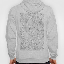 Hand painted black white watercolor tribal floral Hoody
