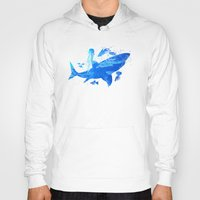 shark Hoodies featuring Shark by Corina Rivera Designs