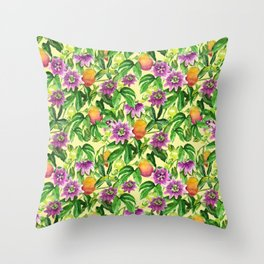 Passiflora vines Throw Pillow