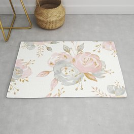 Roses Gold Glitter Pink by Nature Magick Rug