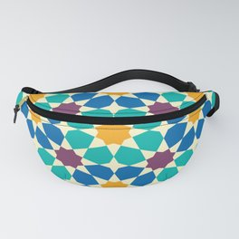 Moroccan pattern, Morocco. Patchwork mosaic with traditional folk geometric ornament Fanny Pack