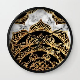 Gold Lace on Marble Wall Clock