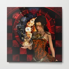Steampunk lady with clocks and gears Metal Print