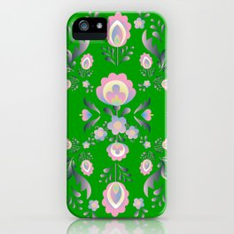 Folk Flowers in Green and Pink iPhone Case