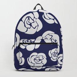 White roses on blue Backpack