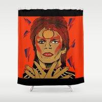 rebel Shower Curtains featuring Rebel Rebel by Rachcox