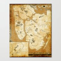 westeros Canvas Prints featuring Fantasy Map of New York: Gold Parchment by Midgard Maps