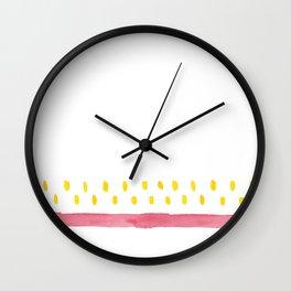 red stripe yellow dots watercolor pattern Wall Clock