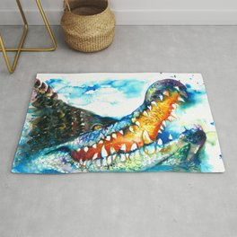 Crocodile Watercolor Painting Rug