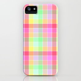 Pastel Rainbow Sorbet Ice Cream Check Plaid iPhone Case