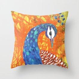 peacock art: Pretty Boy Throw Pillow