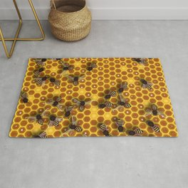 Honeycomb bee background illustration seamless pattern Rug
