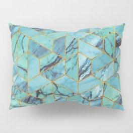 Blue Marble Hexagonal Pattern Pillow Sham