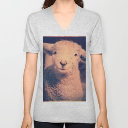 Innocence (Smiling White Baby Sheep) Unisex V-Neck