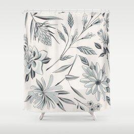 Watercolor Blue Grey Flowers Flash Sheet Shower Curtain