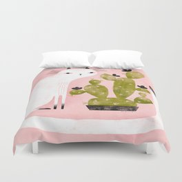 CAT & CACTUS Duvet Cover