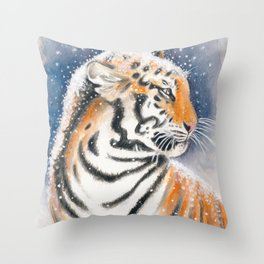 Tiger In The Snow Throw Pillow