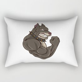 Pitbull At The Gym | Training Fitness Muscles Rectangular Pillow