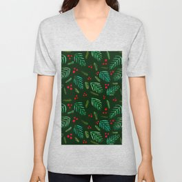 Christmas tree branches and berries - green Unisex V-Neck