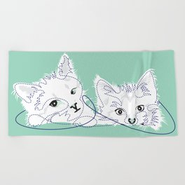 mint kittens 01 Beach Towel