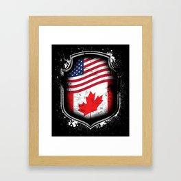 Canadian American Flag Framed Art Print