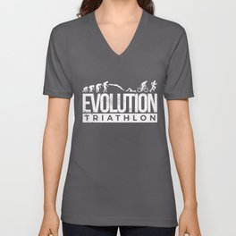 Evolution Triathlon Funny Triathlete Caveman Unisex V-Neck