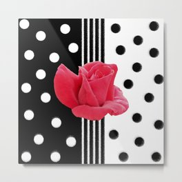 Mr. Lincoln Rosebud with Black and White Polka Dots Metal Print