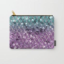 Mermaid Scales on Aqua Purple MERMAID Girls Glitter #2 #shiny #decor #art #society6 Carry-All Pouch