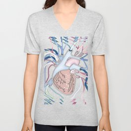 Heart Vibe in Blue Unisex V-Neck