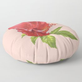 Pink Hibiscus Flower Floor Pillow