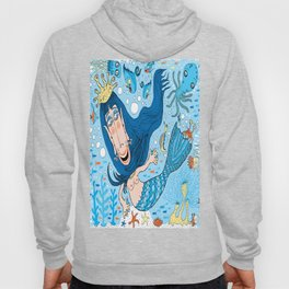 Quirky Mermaid with Sea Friends, Blue version Hoody